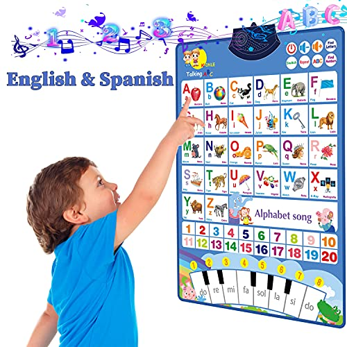 Bilingual Electronic Interactive Alphabet Wall Chart, Talking ABC & 123s & Eng & Spanish & Songs & Piano Keyboard Poster, Perfect Educational Toy for Toddler, Preschool Learning Toys for Boys & Girls