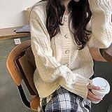 WDDYYBF Suéter para Mujer,Otoño Invierno Suéter Chaqueta Botón Knitt Twist All-Match Loose Femenino Cardigan O-Neck Mujeres Elegante Jerseys Pantalones De Punto Suéteres Y Jerseys, Blanco, Un Tamaño