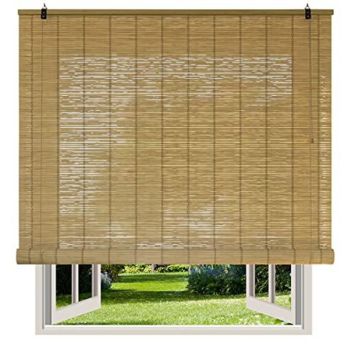 Persianas de Bambú Exterior / Persiana Enrollable - Persianas de Madera, Estor Enrollable de Bambú Natural para Interior o Exterior. Medida Ancho x Alto. Color Natural.