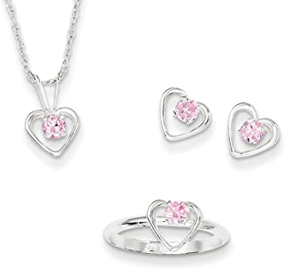 """Lex & Lu Sterling Silver Childs 15"""" Necklace, Earrings & Size 3 Ring Set"""