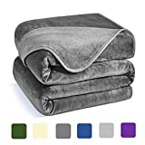 Charm Heart Luxury Fleece Blanket,All Season 350GSM Blanket Super Soft Warm Thick Blanket for Home Bed Blankets King Size, Dark Grey 90×108 in