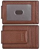 Money Clip, Front Pocket Wallet, Genuine Leather RFID Blocking Strong Magnet Minimalist Thin Wallet For Mens Brown Clip Wallet Credit Card Holder