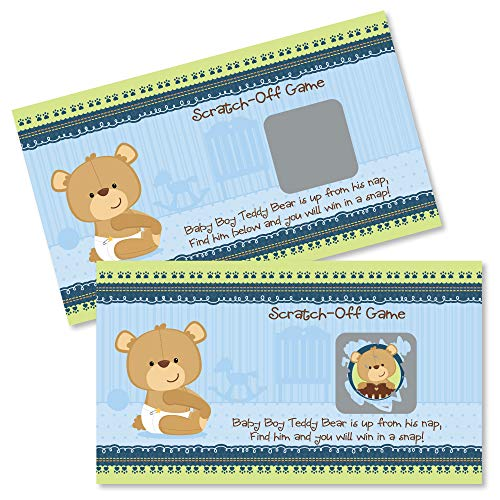 Big Dot of Happiness Baby Boy Teddy Bear - Baby Shower or Birthday Party Game Scratch Off Cards - 22 Count