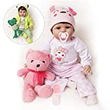 Lifelike Reborn Baby Dolls Girl 2 Outfits Silicone Vinyl Cotton Body 22 Inches Pink Outfit with Toy Teddy Bear