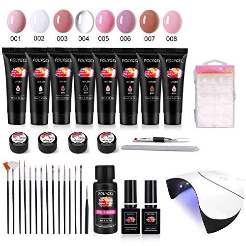 Polygel Nagellack Set, MYSWEETY 15ml 8 Farben Nagel Gel UV Rosa Nagelverlängerungsgel für Anfänger French Kit, mit 36W LED/UV Lampe, Überlack, Unterlack, Gleitlösung