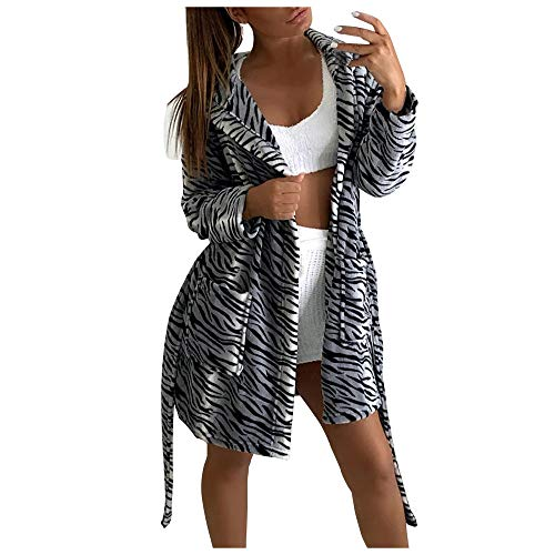 Damen Bademantel,Damen Hoodie Fleece Kleider Bathrobe Zebramuster Langarm Revers Japanisch Shaggy Soft Long Pyjamas Winter Verdicken Warme Plüsch Loungewear Nightwear, M.