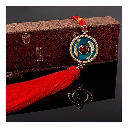 HYPPT Colgante de Coche Adorno Esmalte Talla 3D Feng Shui Chino Decoración de Colgar en el hogar Espejo de Coche Encantos Ventana Colgando Accesorios de Coche Ventana de Piedras Preciosas-Red
