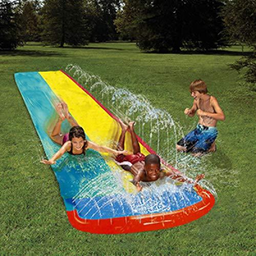 gousheng Hinterhof Kinder Wasserrutsche 4,8 M Surfen Doppel Wasserrutsche Kinder Aufblasbare Spielplatzrutsche Sommer Hinterhof Schwimmbad