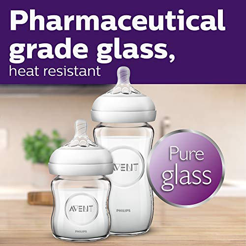 Philips Avent Natural Glass Baby Bottle, Clear, 4oz, 4pk, SCF701/47 Maryland