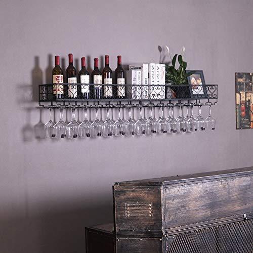 JPL Estante de vino de sala de estar, estante de vino de restaurante, estante de vino decorativo, estantes de vino Soporte de copa de vino de techo europeo para complementar cualquier espacio,100cm *