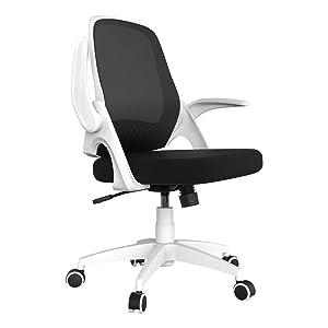 Hbada Office Chair Desk Chair Flip-up Armrest Ergonomic Task Chair Compact 120° Locking 360° Rotation Seat Surface Lift Reinforced Nylon Resin Base, White