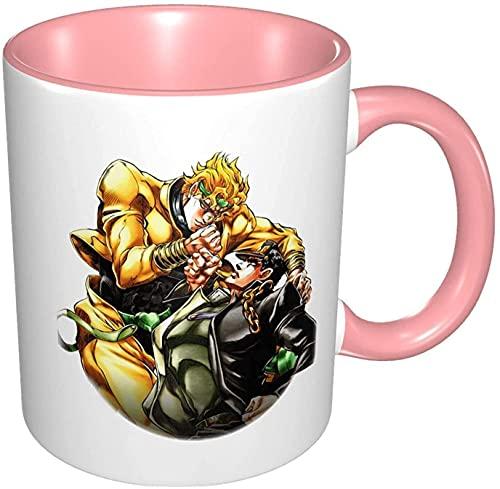 Beets Tazas clásicas simples y modernas Dio y Kujo Jotaro taza de café fácil de sostener, textura elegante y esmalte, regalo para familiares amigos