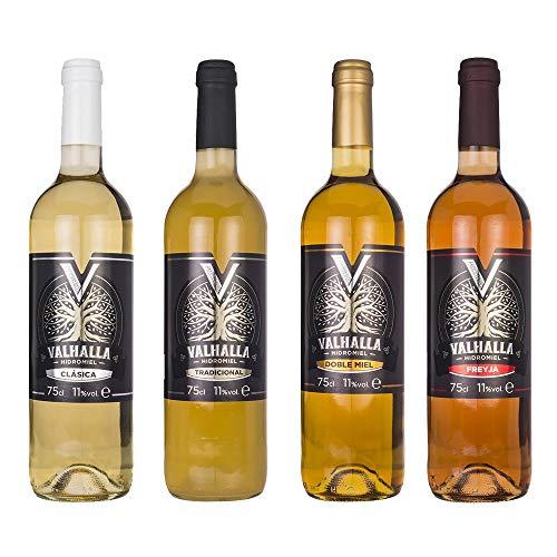 Valhalla Hidromiel Surtido de 4 Botellas de Hidromiel de 4 Sabores | Surtido Sabores Valhalla Clásica, Tradicional, Doble Miel y Freyja. Bebida Ecológica. Botellines de 75cl