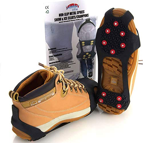 WinterWise® 10-STUD Ice Snow Grips, Anti Slip Winter Ice Grippers Universal Slip-on Stretch fit Snow & Ice Spikes Snow Traction Cleats Crampons (Grips, Crampons, Cleats) (Small)