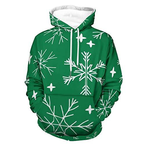 Winter Light Snowflake Cute Anime Hoodie 3D gedrucktes Gesicht Gym Shirt Sweatshirt Kleidung Bequem Bekleidung Anzug Home Tops 3XL Gr. Small, weiß