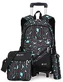 Meetbelify 3pcs Kids Rolling Backpacks Luggage Six Wheels Trolley School Bags … (Green)