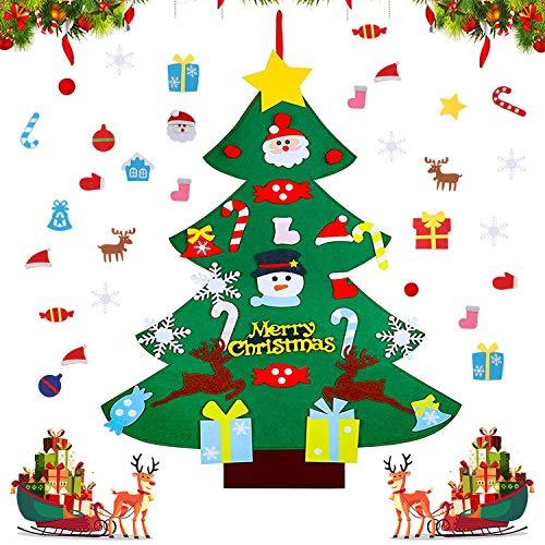 WELLXUNK Fieltro Árbol de Navidad,DIY Árbol de Navidad,Árbol de Fieltro,Árbol de Navidad Fieltro DIY,con 26Pcs Adornos Desmontables Año Nuevo Navidad Regalo para Niños