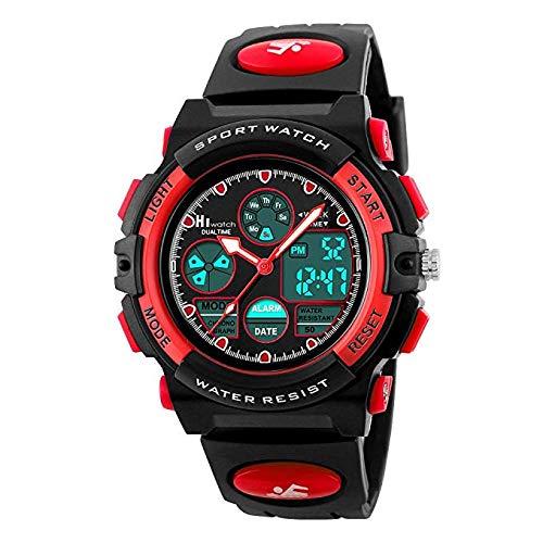 Hiwatch Relojes Deportivos Impermeable para los Niños Reloj de Pulsera Digital a Prueba de Agua Color Rojo