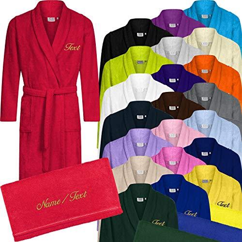 Nashville print factory Set Fashion Bademantel + Duschtuch Bestickt mit Namen/Wunschtext (Chocolate Brown, S/M (H46-48/D40-42))