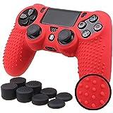 YOKING - Funda protectora de silicona antideslizante 9 en 1 + 8 tapas para los dedos para 4 mandos PS4 Pro Slim