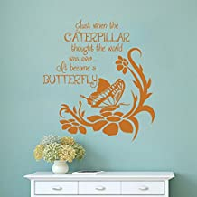 Inspirational Custom Vinyl Wall Decal Quote Just When The Caterpillar Though the World Was Over It Became A Butterfly£¨Small,White£©