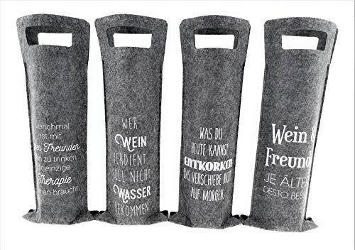 MC Trend 4er Set Filz Wein Flaschen-Tasche mit Sprüchen Exclusive Geschenk-Idee-Verpackung