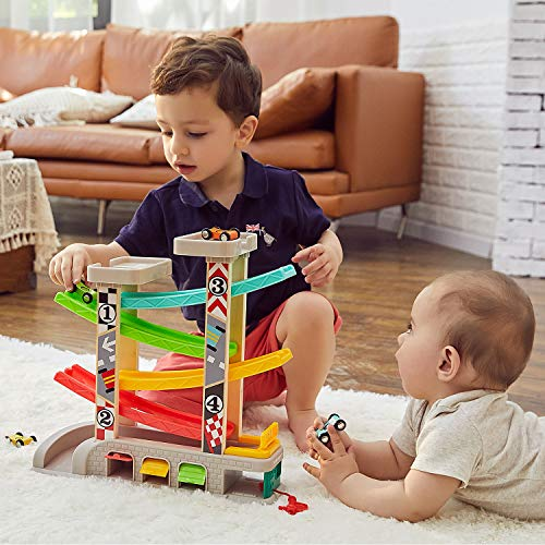 TOP BRIGHT Car Ramp Toy for 1 2 3 Year Old Boy Gifts Birthday Presents, Toddler Race Track Toy with 4 Wooden Cars and 3 Car Garage