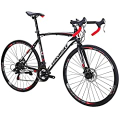 21speedshifting system road bike; The double disc brake system improves braking efficiency and safety; This bike arrives with 85% assembled. You need to install the front wheel, pedals, handlebar, seat and air up the tires. The bike assembly instru...
