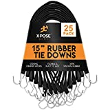 "Rubber Bungee Cords with Hooks 25 Pack 15 Inch (27"" Max Stretch) Heavy-Duty Black Tie Down Straps for Outdoor, Tarp Covers, Canvas Canopies, Motorcycle, and Cargo - by Xpose Safety"