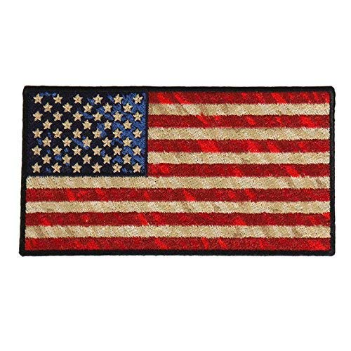 """DISTRESSED AMERICAN FLAG, High Thread Iron-On / Saw-On Rayon PATCH - 5"""" x 3"""", Exceptional Quality"""
