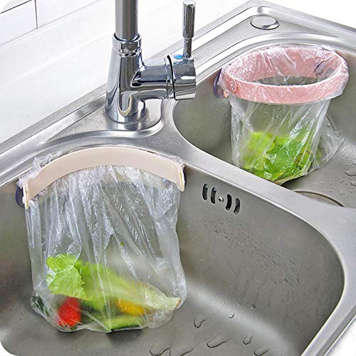 JLWS Kitchen Sink Garbage Bag Holder Closable Trash Can Double Suction Cup Rubbish Rack Sealing Waste Punch-free Storage Hanger