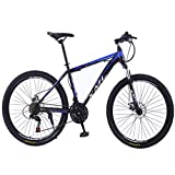 Bicicleta Montaña MTB 26' Bicicletas De Montaña De 21 Velocidades For Adultos MTB Cuadro De La Bicicleta De Peso Ligero De Acero Al Carbono De Doble Suspensión Del Freno De Disco Bicicleta de Montaña