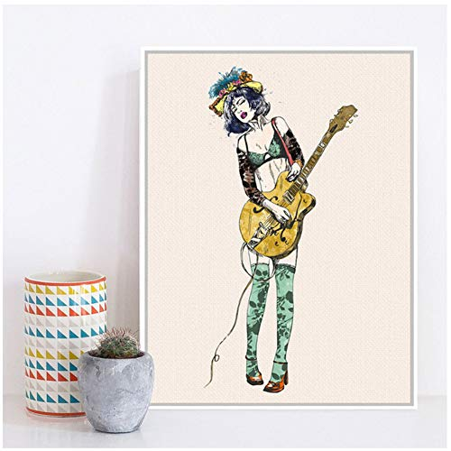 Canvas Painting Play Guitar Girl Pop Rock Roll Music Large Art Print Poster Hippie Wall Picture Home Decor 40x60cm (15,7