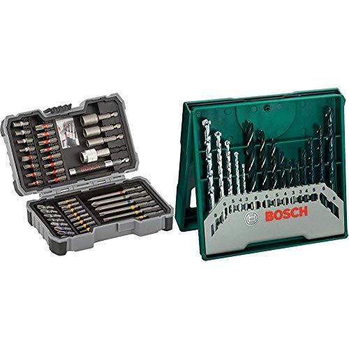 Bosch Professional 43tlg. Schrauber Bit Set (Zubehör für Elektrowerkzeuge) & 15tlg. Mini-X-Line...
