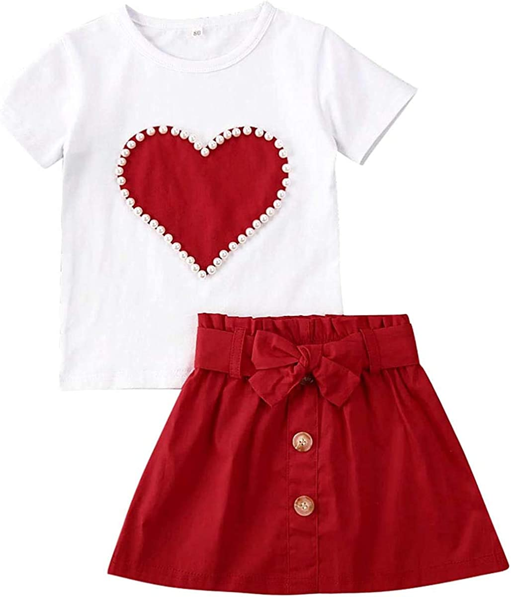 2PCS Toddler Baby Girl Skirt Outfits Short Sleeve T-Shirt Tops + Bowknot Belt Button Skirt Summer Clothes Set