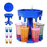 New Version 6 Shot Glass Dispenser and Holder With Game Turntable,Shot Dispenser With 6 Silicone Plug For Filling Liquids, Home Party Bar Shot Dispenser Cocktail Dispenser Carrier (Blue/With 6 Cups)
