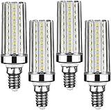 Lxcom Lighting E12 20W LED Corn Light Bulb 4 Pack - 2835 SMD 88 LEDs 180 Watt Equivalent 6500K Daylight White Candelabra LED Bulb 2000LM E12 Base Decorative Bulb for Home Lighting,AC85-265V(Silver)