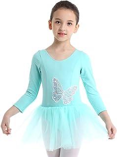 FEESHOW Kinder Mädchen Glitzer Pailletten Ballettkleid Einteiliger Ballettanzug Langarm Body mit Tütü Rock Tanzen Trikot Dancewear in Blau/Rosa Gr. 98-140