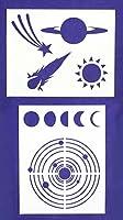宇宙/惑星ステンシル - 2点セット - 8 x 10インチ