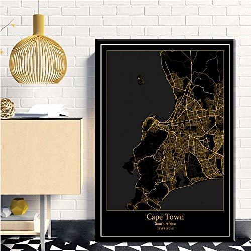 Serthny Schilderij schilderijen, Kapstadt Zuid-Afrika zwart & Amp; Gold City Light Maps Custom Wereld Stadsplan Poster Kunstdruk op canvas in Scandinavische stijl Wall Art Home Decor 70x100cm (27.55×39.37inch)no frame