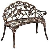[casa.pro]®] Gartenbank Bronze Gusseisen - Wetterfester 2-Sitzer rund aus Metall im Antik-Design - Parkbank/Sitzbank/Eisenbank im Landhausstil