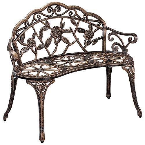 [casa.pro]] Gartenbank Bronze Gusseisen - Wetterfester 2-Sitzer rund aus Metall im Antik-Design -...