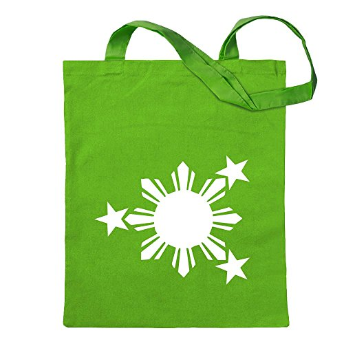 Kiwistar Flagge der Philippinen Tragetasche Baumwolltasche Stoffbeutel Umhängetasche Langer Henkel