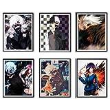 Juego de 6 pósters de pared para decoración de la galería de arte de Tokyo Ghoul Fan Art Gallery Digital de diseño de Lord of Ken Kaneki Touka Kirishima, 8 x 25 cm, sin marco