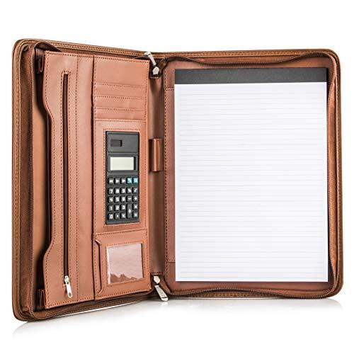 COSSINI Premium Business Portfolio with Zipper – Padfolio - Superior Business Impressions Begin with PU Vegan Leather, 10.1 Inch Tablet Sleeve, Smart Storage, Solar Calculator, Writing Pad - Brown