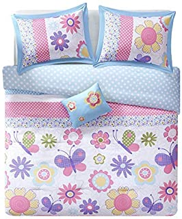 Comfort Spaces Happy Daisy Ultra Soft Hypoallergenic Microfiber Kid Butterfly/Floral 4 Piece Comforter Set Bedding, Queen, Blue