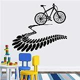 Rgzqrq Me Encanta la Bicicleta de montaña neumático Pista corazón Pegatinas de Pared Bicicleta decoración Mural Vinilo Desmontable protección del Medio Ambiente calcomanía Cartel 110x125cm