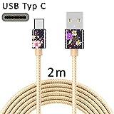 TheSmartGuard - Cavo USB C Tipo C per la Ricarica, in Nylon, con connettore USB-Type-C, Compatibile con Samsung S10/S9/S8, Huawei P30/P20, UVM, 2 Metri/2 m, Dorato, Motivo a Pois, Vintage, Rosa