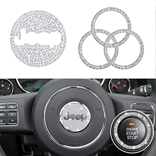 YIXIN 4pcs Bling Steering Wheel Cover Trim Sticker Compatible for Jeep Cherokee Compass Grand...