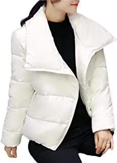 Women Down Coat Lapel Zipper Jacket Long Sleeve Down Coat